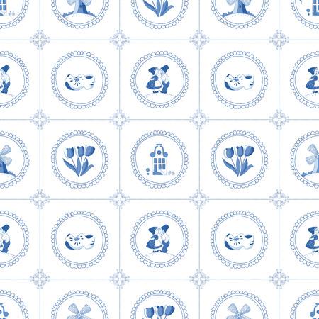 Ilustración de Seamless pattern with Dutch ornaments  - Imagen libre de derechos