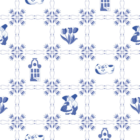 Illustration pour Seamless pattern with Dutch ornaments  - image libre de droit