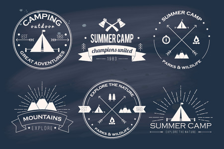 Illustration pour Set of vintage summer camp badges and other outdoor emblems and labels - image libre de droit
