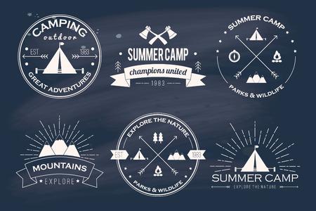 Illustration for Set of vintage summer camp badges and other outdoor emblems and labels - Royalty Free Image