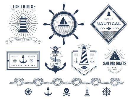Illustration pour Set of nautical , badges and labels - image libre de droit