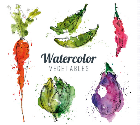 Ilustración de Set of watercolor vegetables - Imagen libre de derechos