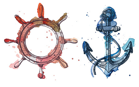 Illustration for Watercolor and ink illustration of an anchor and a steering wheel. The watercolor and ink drawings are two different layers. - Royalty Free Image