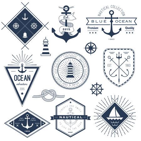 Illustration pour Set of nautical logos, badges and labels - image libre de droit