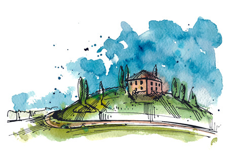 Illustration pour Watercolor illustration of a Tuscany hill. The watercolor and ink drawings are two different layers. - image libre de droit