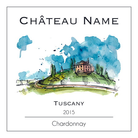 Illustration pour Wine label with a watercolor illustration of Tuscany - image libre de droit