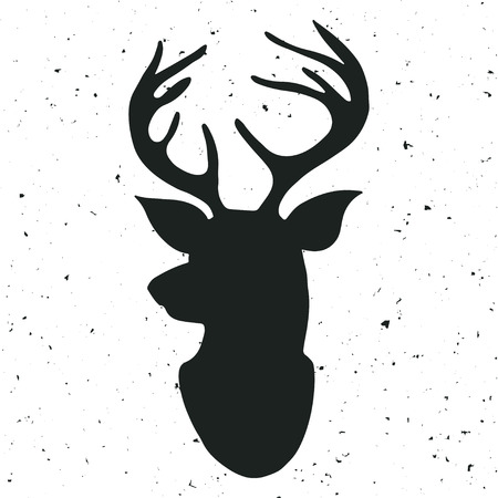 Illustration for Hand drawn vintage label with a reindeer - Royalty Free Image