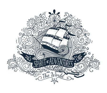 Illustration pour Hand drawn vintage label with a ship and lettering - image libre de droit