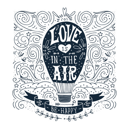 Illustration pour Hand drawn vintage print with a hot air balloon and hand lettering - image libre de droit