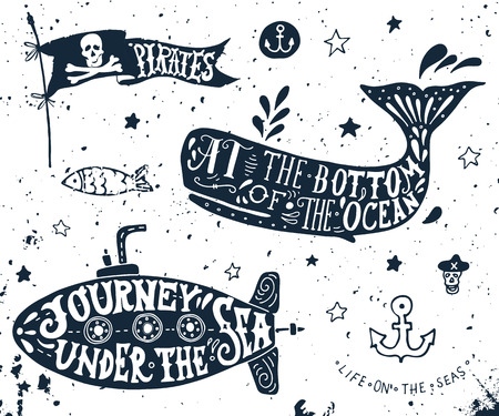 Illustration for Set hand drawn of nautical elements. Pirate flag, whale, submarine. - Royalty Free Image