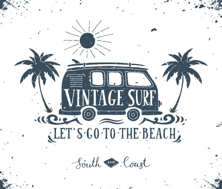 Illustration for Vintage summer surf print with a mini van, palm trees and lettering. - Royalty Free Image