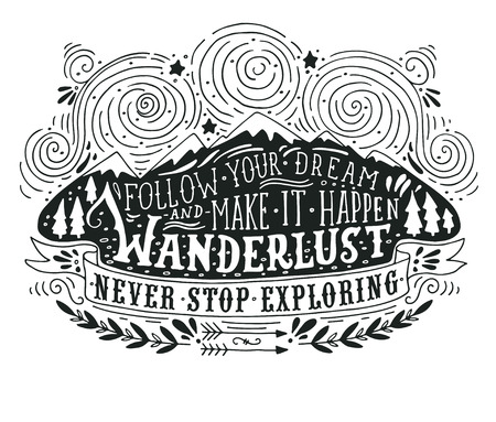 Illustration pour Hand drawn vintage label with mountains, forest and lettering - image libre de droit