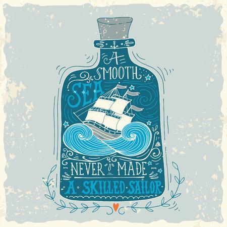 Ilustración de Hand drawn vintage label with a ship in a bottle and hand lettering - Imagen libre de derechos