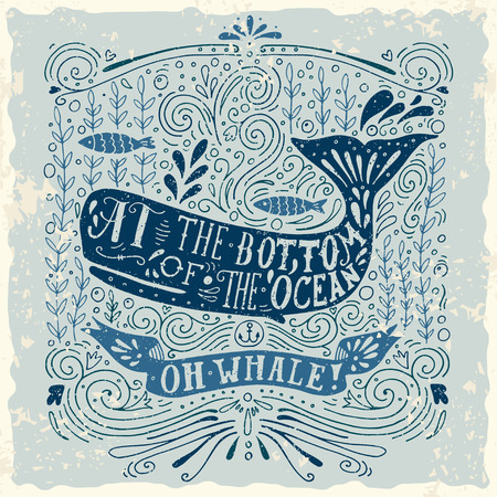 Illustration for Hand drawn vintage label with a whale and lettering. This illustration can be used as a print on T-shirts and bags. - Royalty Free Image