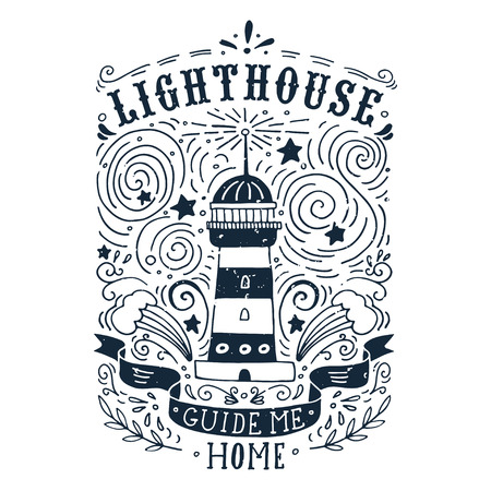 Illustration pour Hand drawn vintage label with a lighthouse and lettering. This illustration can be used as a print on T-shirts and bags. - image libre de droit