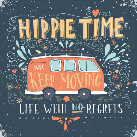 Illustration pour Vintage hippie time print with a mini van, decoration and lettering. Life with no regrets. This illustration can be used as a print on T-shirts and bags. - image libre de droit