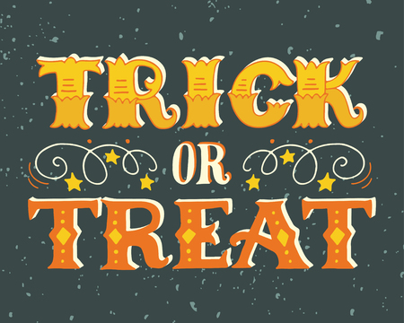 Illustration for Trick or treat. Halloween poster with hand lettering on grunge background. - Royalty Free Image