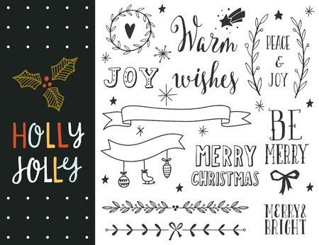 Illustration pour Holly Jolly. Hand drawn Christmas holiday collection with lettering and decoration elements for greeting cards, stationary, gift tags, scrapbooking, invitations. - image libre de droit