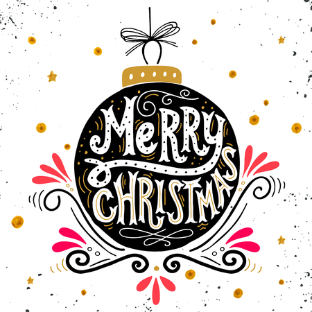 Ilustración de Merry Christmas retro poster with hand lettering, Christmas ball and decoration elements. This illustration can be used as a greeting card, poster or print. - Imagen libre de derechos