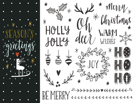 Illustration for Season's greetings. Hand drawn Christmas holiday collection with lettering and decoration elements for greeting cards, stationary, gift tags, scrapbooking, invitations. - Royalty Free Image