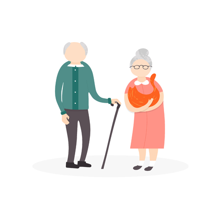 Illustrazione per Vector flat people characters. A big happy family portrait. Father and mother with their children and grandparents, cat and dog isolated on white background. - Immagini Royalty Free