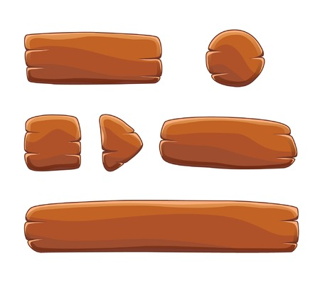 Illustration pour Set of cartoon wooden buttons with different shapes, vector gui elements - image libre de droit