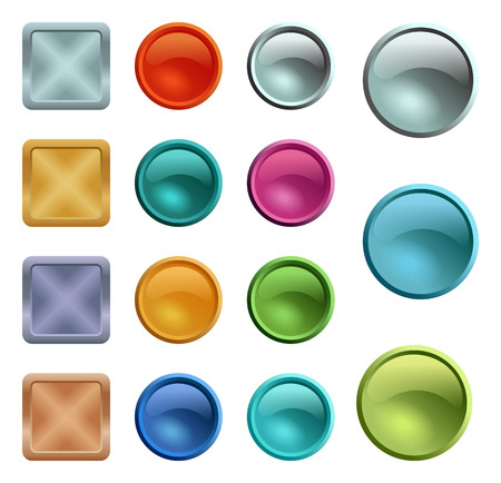 Illustration pour Colored blank buttons template with metal texture - image libre de droit