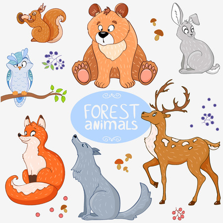 Illustration set of cute animals of the forest