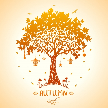 illustration of silhouette tale autumn tree mural