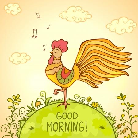 Illustration pour illustration of a sing morning beautiful Cockerel - image libre de droit