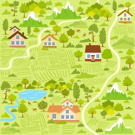 Illustration pour illustration background of a map village with houses - image libre de droit