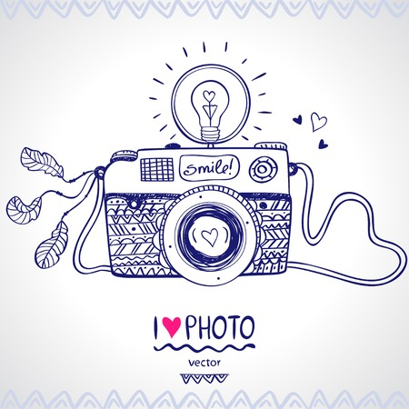 Illustration for illustration sketch vintage retro photo camera - Royalty Free Image