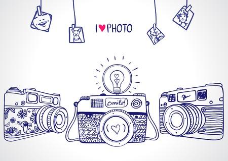 Illustration pour illustration sketch vintage retro photo camera - image libre de droit