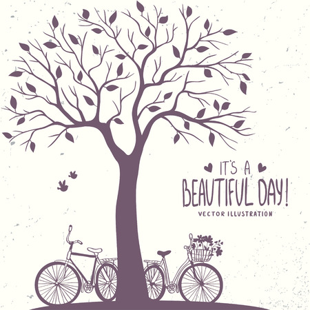 Illustration pour Stylish romantic card with silhouette tree and two bicycle. Vector illustration - image libre de droit