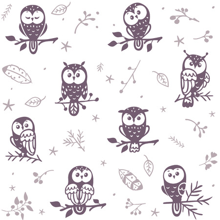 Ilustración de Beautiful seamless pattern with silhouette cute owls. Vector illustration - Imagen libre de derechos
