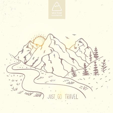 Illustration pour illustration nature mountains with text - just go travel.  sketch. - image libre de droit