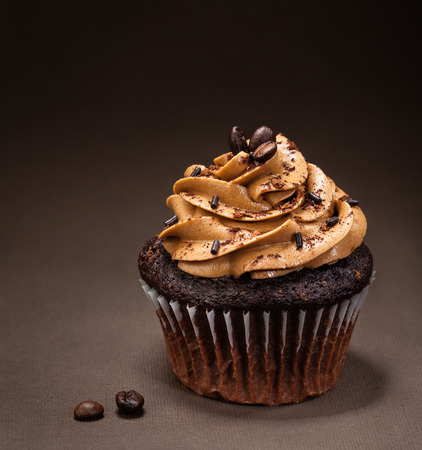 Photo pour A chocolate cup cake with  mocha icing and sprinkles - image libre de droit