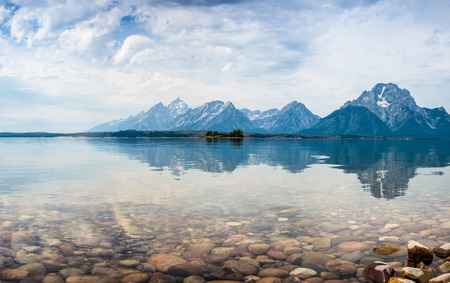 Hermitage Point view across Jackson Lake with the Grand Tetons near Moran,  USA., wyoming