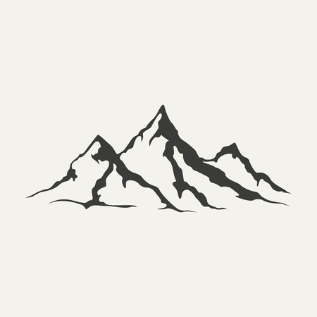 Illustration pour illustration of mountains. Black and white style - image libre de droit