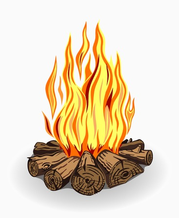 Illustration for Illustration of isolated camp fire. Colored on white background. - Royalty Free Image