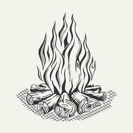 Illustration pour Illustration of isolated camp fire on white background. Monochrome. - image libre de droit