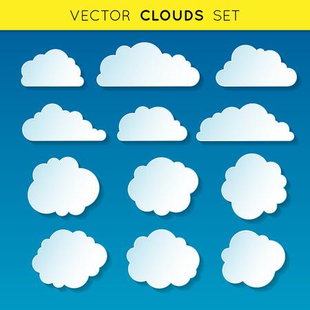 Illustration pour Vector clouds set, white linear gradient clouds with shadow on blue background - image libre de droit