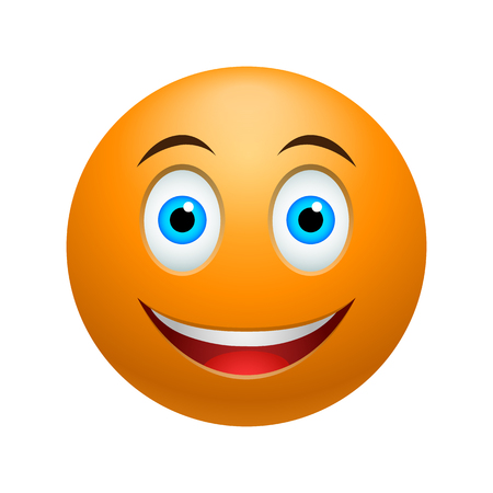 Illustration pour Smile emoticon, colored picture with emotional face isolated on white - image libre de droit