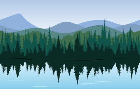 Illustration for Forest panorama, morning or day time woods with lake in front and mountains behind. Pattern - Royalty Free Image