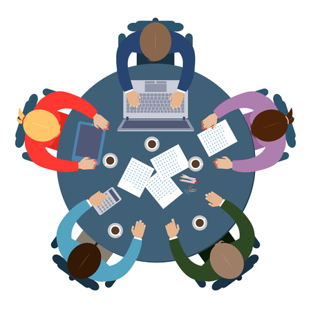 Illustration pour Business meeting in flat style, brainstorming or coworking - image libre de droit