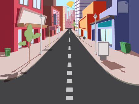 Illustration pour Morning cityscape in a comic style. The road to the shops - image libre de droit