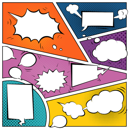 Illustration pour Comic speech bubbles on a comic strip background - image libre de droit