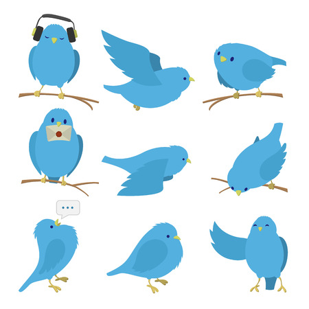Ilustración de Blue birds set isolated on white background - Imagen libre de derechos