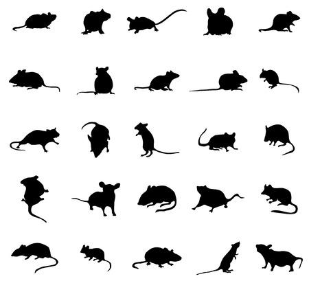 Ilustración de Mouse silhouettes set isolated on white background - Imagen libre de derechos
