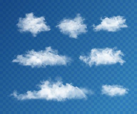 Illustration pour Clouds realistic set on transparent background for web and mobile devices - image libre de droit